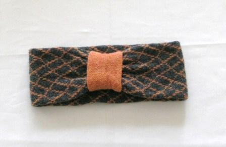 Headband Soft Merino Lambswool Coal Grey Orange
