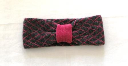 Headband Soft Merino Lambswool Coal Grey Pink