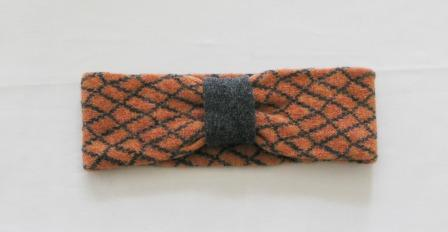 Headband Soft Merino Lambswool Orange Coal Grey