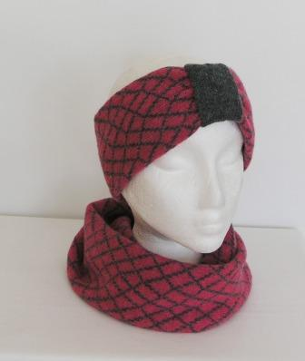 Headband Soft Merino Lambswool Pink Coal Grey