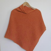 Soft Merino Lambswool  Orange Wrap Poncho