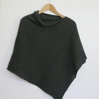 Soft Merino Lambswool Coal Grey Wrap Poncho