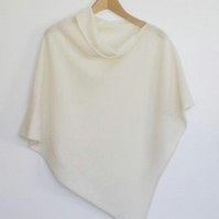 Soft Merino Lambswool Cream White Wrap Poncho