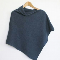 Soft Merino Lambswool Denim Blue Wrap Poncho