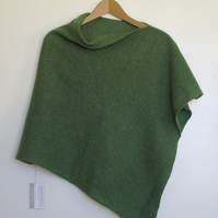 Soft Merino Lambswool Bay Green Wrap Poncho