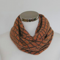 Merino Lambswool Circle Scarf Orange Coal Grey