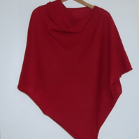 Soft Merino Lambswool  Poppy Red Wrap Poncho