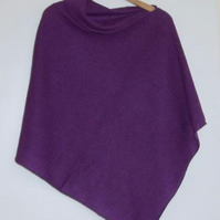 Soft Merino Lambswool  Lupin Purple Wrap Poncho