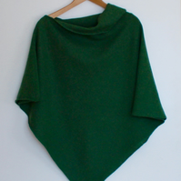Soft Merino Lambswool  Turf Green Wrap Poncho