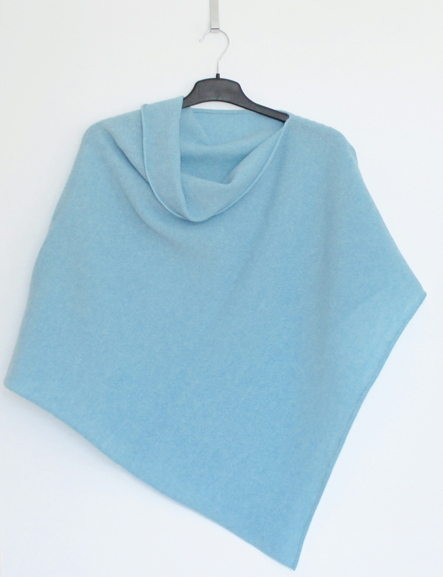 Soft Merino Lambswool Baby Blue Wrap Poncho