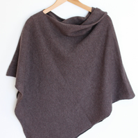 Soft Merino Lambswool Truffle Brown Wrap Poncho