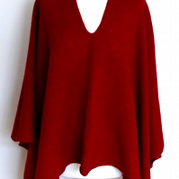 Deep Raspberry Red Merino Lambswool Wrap Poncho Made to Order