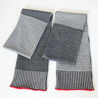Two Tone Coal Grey & Pearl Grey Soft Merino Lambswool Scarf