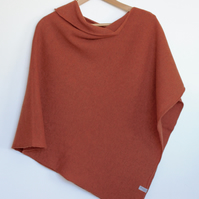 Soft Merino Lambswool Burnt Orange Wrap Poncho