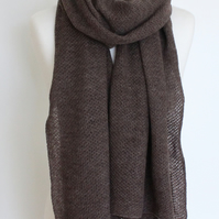 Honeycomb Textured Mocha Colour Merino Lambswool Scarf Shawl