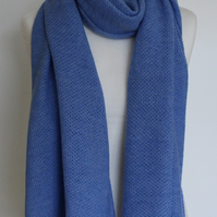 Honeycomb Textured Lagoon Colour Merino Lambswool Scarf Shawl