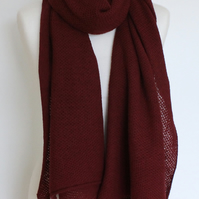Honeycomb Textured Bokhara Colour Merino Lambswool Scarf Shawl