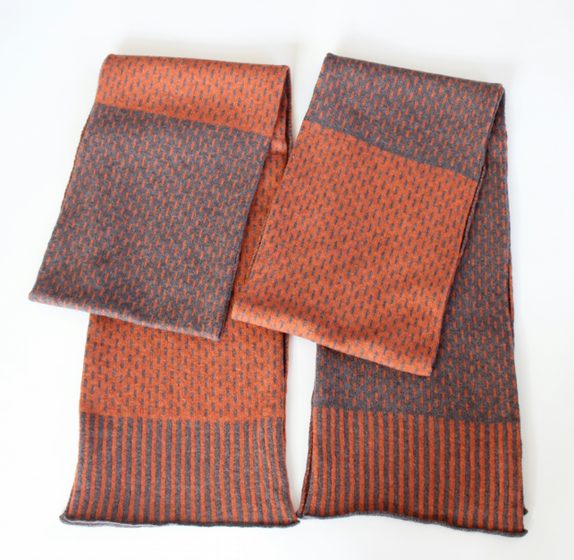 Two Tone Burnt Orange & Truffle Brown Soft Merino Lambswool Scarf