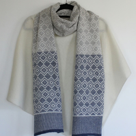 Soft Merino Lambswool Scandi Scarf in Cream, Denim Blue and Pearl Grey