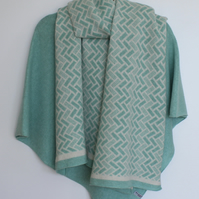 Generous Fair Isle Pattern Merino Lambswool Long Scarf Cream and Mint