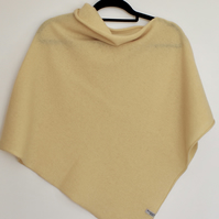 Soft Merino Lambswool Poncho Lemon Zest Yellow