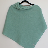 Soft Merino Lambswool Poncho Mint Green