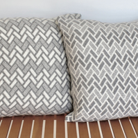 Soft Merino Lambswool Pearl Grey & Cream Cushion Cover