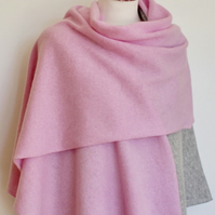 Merino Lambswool Scarf, Shawl or Wrap in Piglet Pink