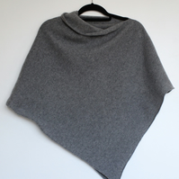 Soft Merino Lambswool Uniform Grey Wrap Poncho