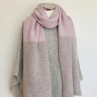 Scarf Shawl Wrap Soft Merino Lambswool Piglet Pink Middle and Pearl Grey Ends