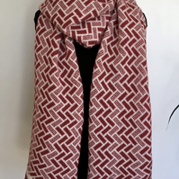Generous Fair Isle Pattern Merino Lambswool Long Scarf Berry Red and Cream