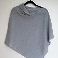 Soft Merino Lambswool Iced Blue Poncho Wrap