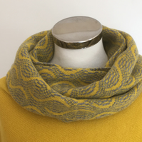 Merino Lambswool infinity Scarf Piccalilli Yellow and Uniform Grey