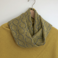 Merino Lambswool infinity Scarf Uniform Grey and Piccalilli Yellow