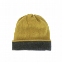 Hat - Soft Lambswool Reversible  Beanie Hat