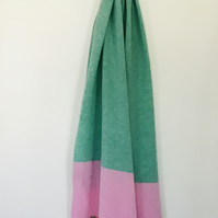 Merino Lambswool Scarf, Shawl or Wrap in Mint Green Pink
