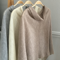 Soft Merino Lambswool Capelet Wrap Poncho in Light Mushroom Brown