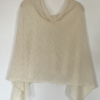 Soft Merino Lambswool Capelet Wrap Poncho in Natural White