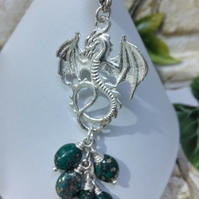 Dragon Eggs Bag Charm Marcasite Gemstone, Red or Green Unique gift, Silver plate