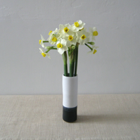 Stoneware Stem Vase – Small Slim White and Blue Black Bud Vase