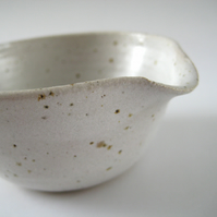 Speckled Pouring Bowl, Small White Pottery Drizzle Bowl