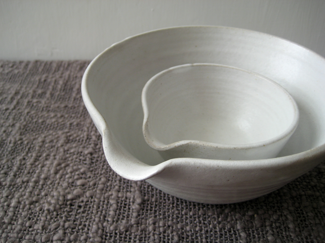MADE TO ORDER Set of Two Pouring Bowls, Rustic Stoneware Pottery Batter Bowls