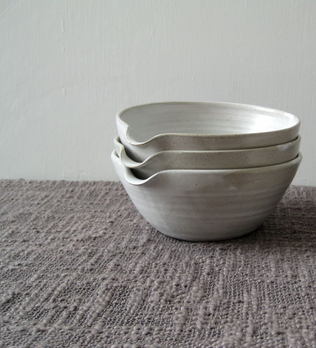 Pouring Bowl - White Stoneware Mixing Bowl, Batter Bowl, Rustic Kitchen Cooking