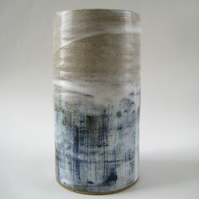 Stoneware Vase – Handmade Modern Pottery, Abstract Pattern, Ceramics