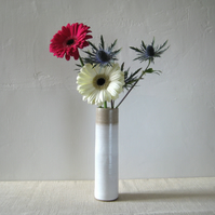 Vase – Stoneware Tall Stem Vase, White and Oatmeal, OOAK Pottery
