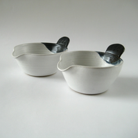 The Original Bird Tail Bowl - Pouring Bowl, White and Blue, Handmade Pottery