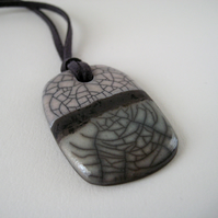 Raku Pendant, Ceramic Stoneware, Soft Green and White Crackle