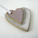 Ceramic Heart Decoration, Love Token, Gift Tags, White and Pink