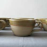 Coffee Bowl Style Coffee Cup, Rustic Pottery Olive Glaze
