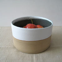 Modern Fruit Bowl, Large Ceramic Cylinder, Handthrown Stoneware